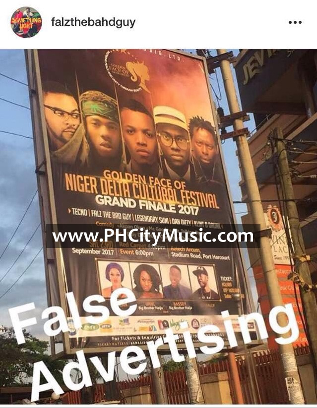 Fake Advert: Golden Face of Niger Delta Cultural Festival Busted By Falz Inclusion of his brand to their event.